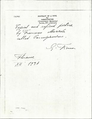 Image for K1175 - Expert opinion by Fiocco, 1938