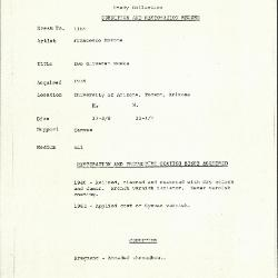 Image for K1164 - Condition and restoration record, circa 1950s-1960s