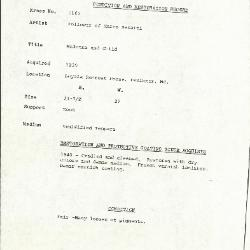 Image for K1165 - Condition and restoration record, circa 1950s-1960s