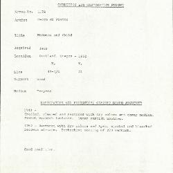 Image for K1174 - Condition and restoration record, circa 1950s-1960s
