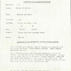 Image for K1179 - Condition and restoration record, circa 1950s-1960s