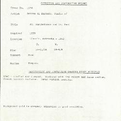 Image for K1176 - Condition and restoration record, circa 1950s-1960s