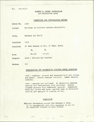 Image for K1183 - Condition and restoration record, circa 1950s-1960s