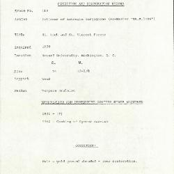 Image for K0119 - Condition and restoration record, circa 1950s-1960s