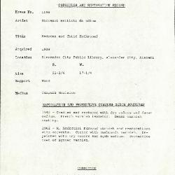 Image for K1196 - Condition and restoration record, circa 1950s-1960s