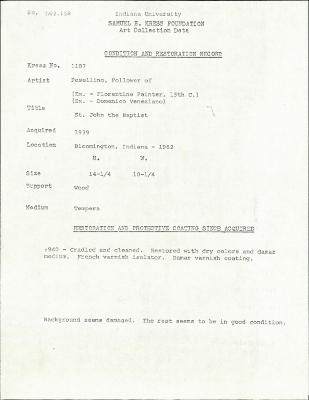 Image for K1187 - Condition and restoration record, circa 1950s-1960s