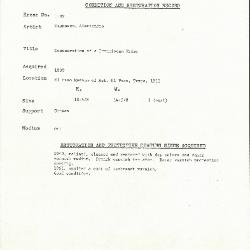 Image for K1192 - Condition and restoration record, circa 1950s-1960s