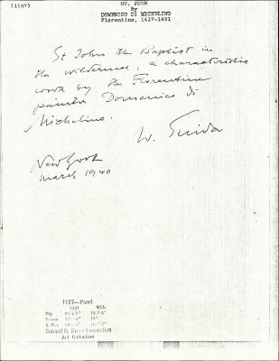 Image for K1187 - Expert opinion by Suida, 1940