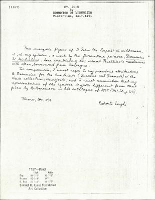 Image for K1187 - Expert opinion by Longhi, 1939