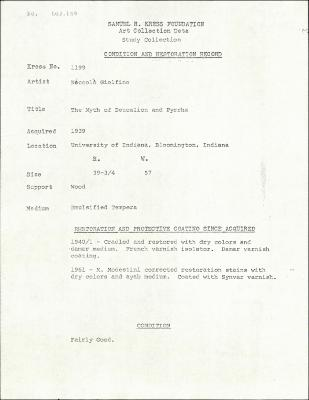 Image for K1199 - Condition and restoration record, circa 1950s-1960s