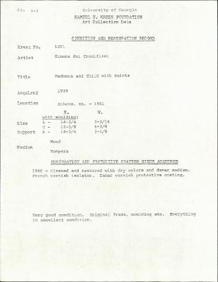 Image for K1201 - Condition and restoration record, circa 1950s-1960s