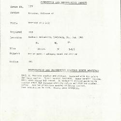 Image for K1200 - Condition and restoration record, circa 1950s-1960s