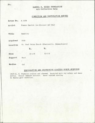 Image for K1208 - Condition and restoration record, circa 1950s-1960s