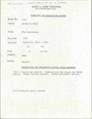 Image for K1209 - Condition and restoration record, circa 1950s-1960s