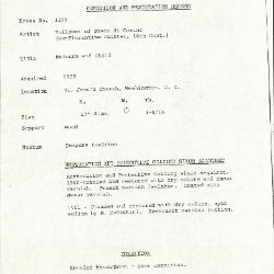 Image for K1215 - Condition and restoration record, circa 1950s-1960s