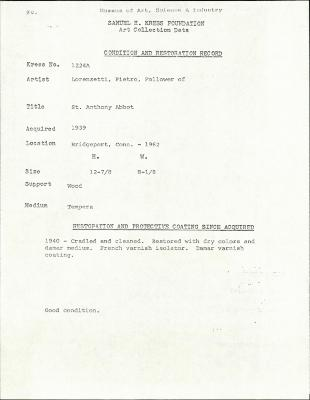 Image for K1224A - Condition and restoration record, circa 1950s-1960s