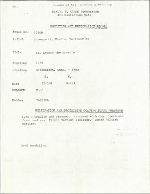 Image for K1224B - Condition and restoration record, circa 1950s-1960s