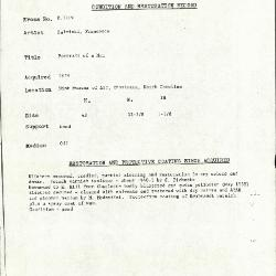 Image for K1219 - Condition and restoration record, circa 1950s-1960s