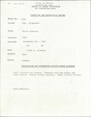 Image for K1226 - Condition and restoration record, circa 1950s-1960s