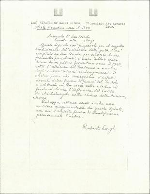 Image for K0122 - Expert opinion by Longhi, circa 1920s-1950s