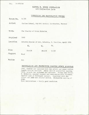Image for K0122 - Condition and restoration record, circa 1950s-1960s