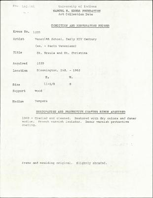 Image for K1225 - Condition and restoration record, circa 1950s-1960s