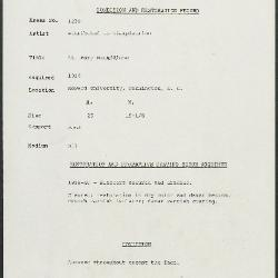 Image for K1230 - Condition and restoration record, circa 1950s-1960s