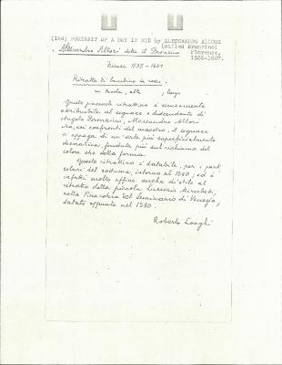 Image for K0124 - Expert opinion by Longhi, circa 1920s-1950s