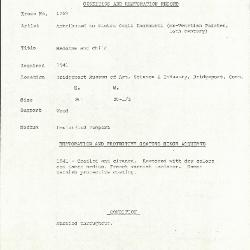 Image for K1269 - Condition and restoration record, circa 1950s-1960s