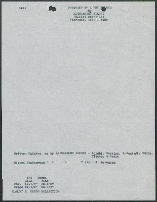 Image for K0124 - Art object record, circa 1930s-1950s
