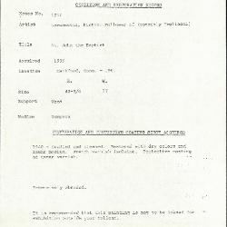 Image for K1237 - Condition and restoration record, circa 1950s-1960s
