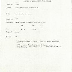 Image for K1265 - Condition and restoration record, circa 1950s-1960s