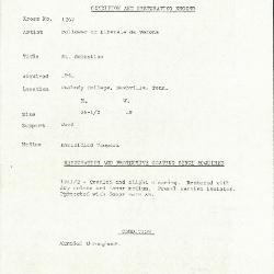 Image for K1267 - Condition and restoration record, circa 1950s-1960s