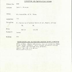 Image for K1266 - Condition and restoration record, circa 1950s-1960s