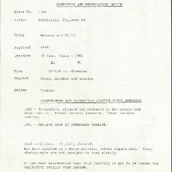 Image for K1240 - Condition and restoration record, circa 1950s-1960s