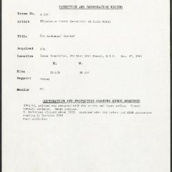 Image for K1261 - Condition and restoration record, circa 1950s-1960s