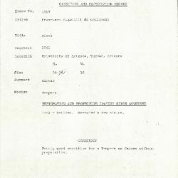 Image for K1263 - Condition and restoration record, circa 1950s-1960s