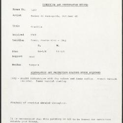 Image for K1262 - Condition and restoration record, circa 1950s-1960s
