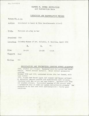 Image for K0124 - Condition and restoration record, circa 1950s-1960s