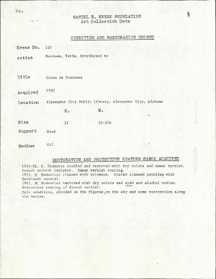 Image for K0127 - Condition and restoration record, circa 1950s-1960s