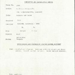 Image for K1283 - Condition and restoration record, circa 1950s-1960s