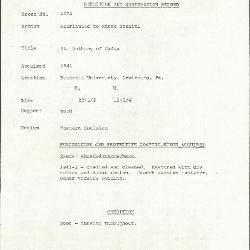 Image for K1274 - Condition and restoration record, circa 1950s-1960s