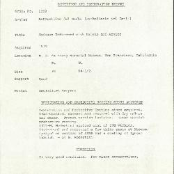 Image for K1299 - Condition and restoration record, circa 1950s-1960s
