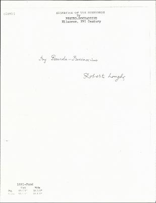 Image for K1291 - Expert opinion by Longhi, circa 1920s-1950s