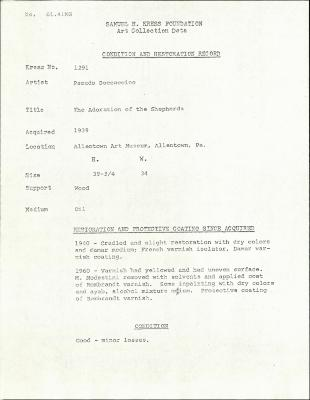 Image for K1291 - Condition and restoration record, circa 1950s-1960s