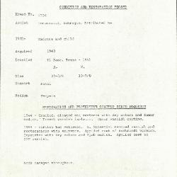 Image for K1354 - Condition and restoration record, circa 1950s-1960s