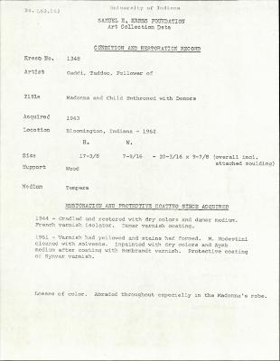 Image for K1348 - Condition and restoration record, circa 1950s-1960s