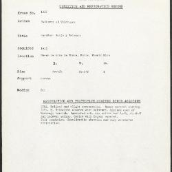 Image for K1327 - Condition and restoration record, circa 1950s-1960s