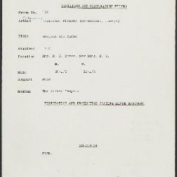 Image for K0134 - Condition and restoration record, circa 1950s-1960s
