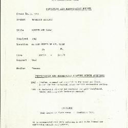Image for K1313 - Condition and restoration record, circa 1950s-1960s